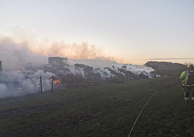 The scene of the fire at a farm in the Legbourne Road area. (Photo: Binbrook Fire Station)