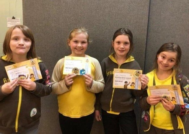 The four girls who recently received their silver awards