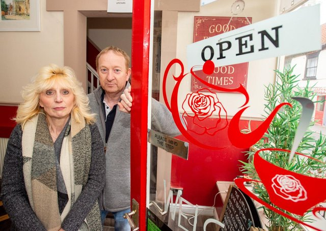 Debbie and Matt Jones, at the Little Rose Tea Room in Aswell Street, voiced their concerns over the long-term future of small businesses such as their cafe.