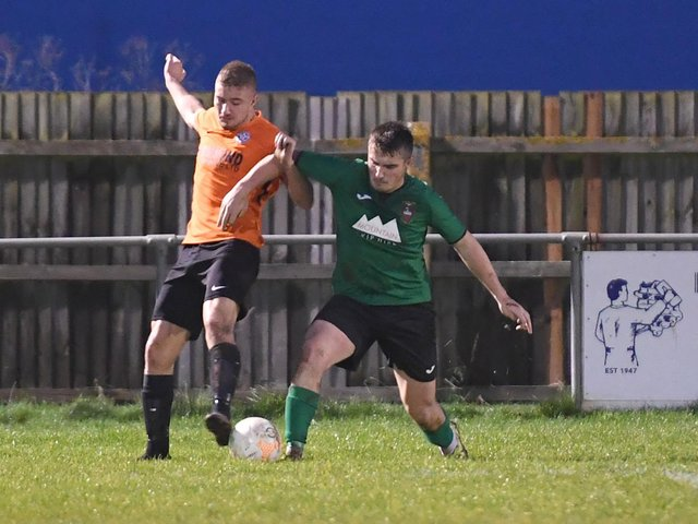 Action from Sleaford versus Lutterworth in the United Counties League earlier this season...