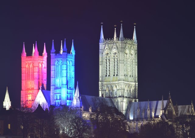 Lincoln Cathedral will be lit red, white and blue on Friday, May 8, to mark the 75th anniversary of VE day, and commemorate the end of the Second World War. EMN-200505-153519001