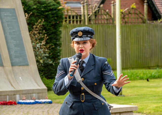 Miss Sarah Jane in Woodhall Spa this morning (Friday) for the 75th anniversary of VE Day.