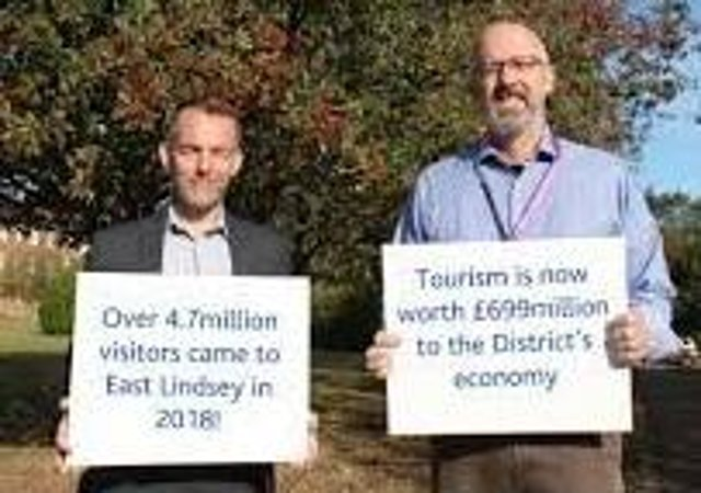 Happier times: ELDC chief executive Rob Barlow (left) and leader Coun Craig Leyland  show how important tourism  is to the area.