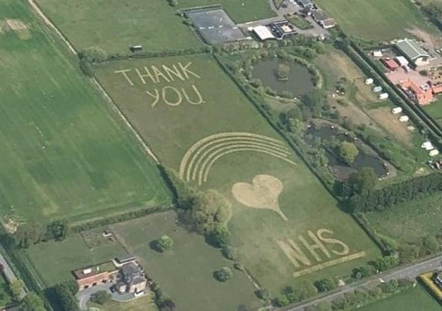 The kind-hearted message cut into a farmer's field near Marshchapel. (Photo: Ramesh Nayak)