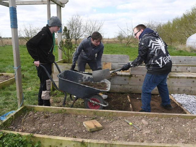 Young people on a Prince's Trust programme creating a sensory garden at the Askefield Project in Friskney.