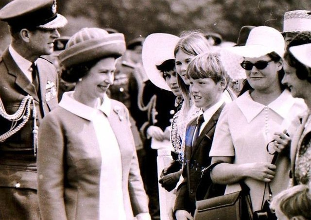 The Queen and Prince Philip meet well wishers in the crowd at RAF College Cranwell when they visited to celebrate its 50th anniversary in June 1970. EMN-210904-125011001