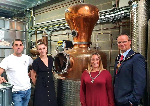 Alan Bottomley and Amy Conyard, from Bottomley Distillers, received a visit from the Mayor and Mayoress last year.