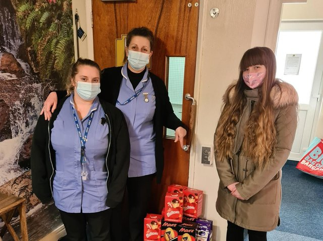 Summer Crane delivering Easter eggs to the residents of Seathorne Court care home.