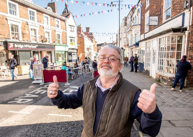 Gary Denniss, chairman of the Louth Independent Traders, in the Cornmarket on Monday.