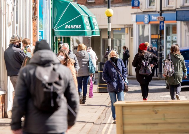 Scenes from Louth town centre on Monday (April 12).