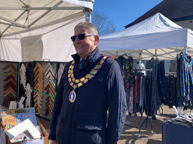 Spilsby Mayor Coun Terry Taylor happy to see the market reopening in town.
