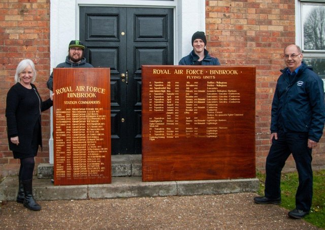 Return of the boards: from left, Christine Wyld, Senior Coordinator His Church, Cormac Taylor and Sam Teague from the His Church Buildings Restoration Team and  Phil Panton,  Director, Lincolnshire Aviation Heritage Centre.