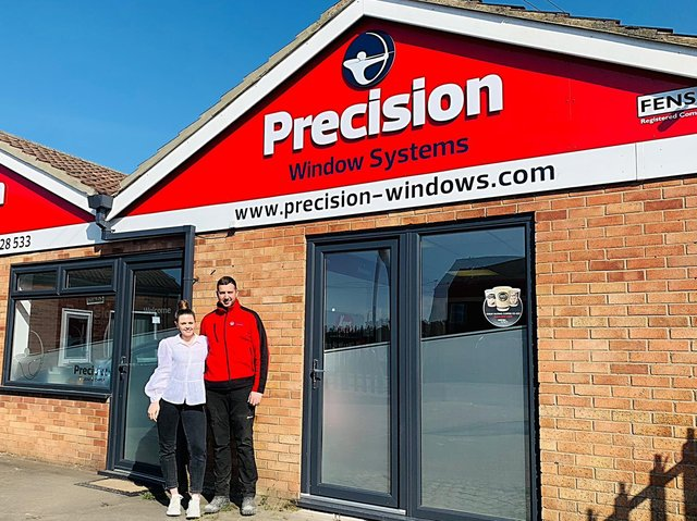 Precision Windows Ltd are holding an open day this weekend to invite customers to check out their over the counter sales premises in Skegness. Pictured outside are owners Aaron Barton, 33, andHollyTaylor, 27.
