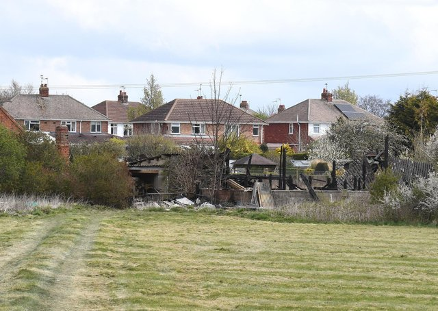 The burned remains of a barn, off The Drove, Sleaford. EMN-210416-180239001