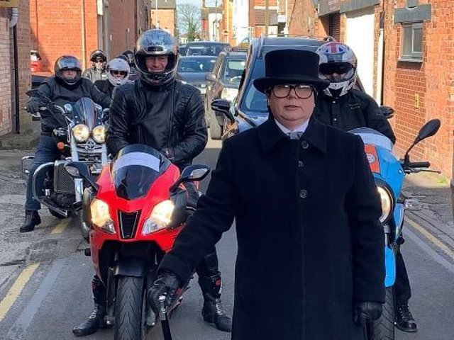 For the funeral of Brian Denis Lavis at Alford Crematorium, his family asked on Facebook ask if any bikers would like to join the cortege. Photo: Frank Wood Funeralcare.