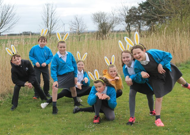 Theddlethorpe Primary Academy pupils take part in the sponsored bunny hop to raise money for St Barnabas Hospice, Lincolnshire. They are: Ethan Doherty, Freddie-Levi Nock, Paige Potter, Emelia Henderson, Sasha Hancock, Olivia Asher, Sophie Rigley, and Katy Alan.