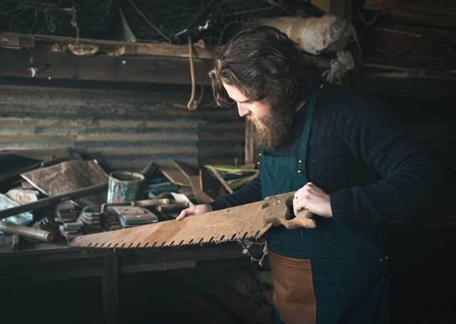 Rob Fawcett in his workshop. Picture: Rob Fawcett/Raw Home.