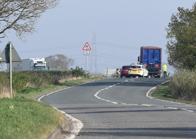 The scene of the fatal collision on the A15 north of the turning for Cranwell last April. EMN-210421-164248001