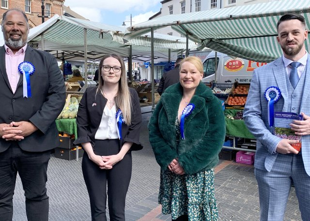 Heritage Party: Leader David Kurten, Claire Martin (Hartlepool candidate), Rebecca Robb (Louth South Ward) and Alex Cox (Louth Town Councillor).