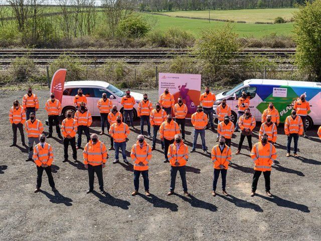 Lightspeed Broadband and Plancast team celebrating its full fibre roll out across ten towns in South Lincolnshire and West Norfolk.