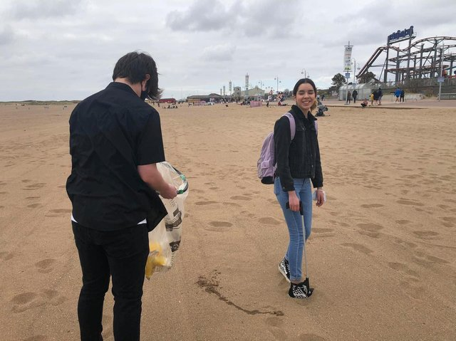 LCCS students litter picking in Skegness and raising awareness of the hustings.