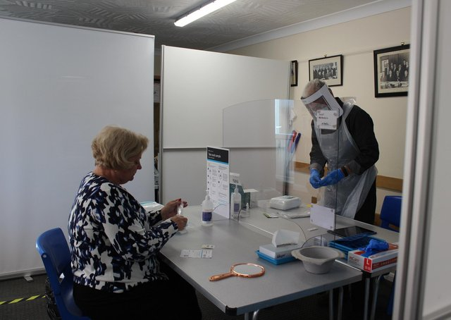 Testing is under way at Market Rasen's Festival Hall (committee room) EMN-210427-101727001