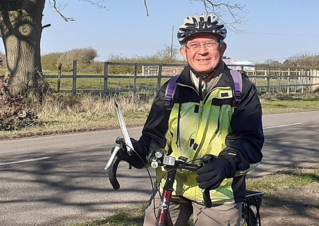 81-year-old Rev David Post out on his Wolds road ride