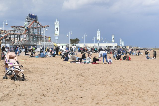 May bank holiday weekend on Skegness beach. ANL-210405-134123001
