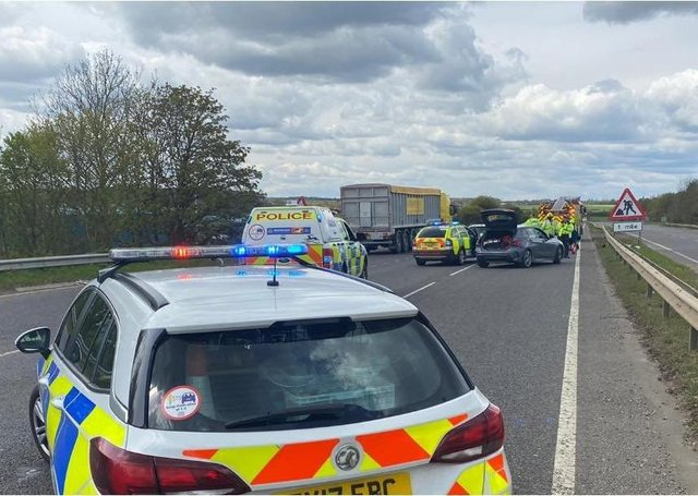 Emergency services surround the scene of the two-car collison on the A17 Sleaford bypass at lunchtime. Photo: Lincs Police EMN-210505-161454001