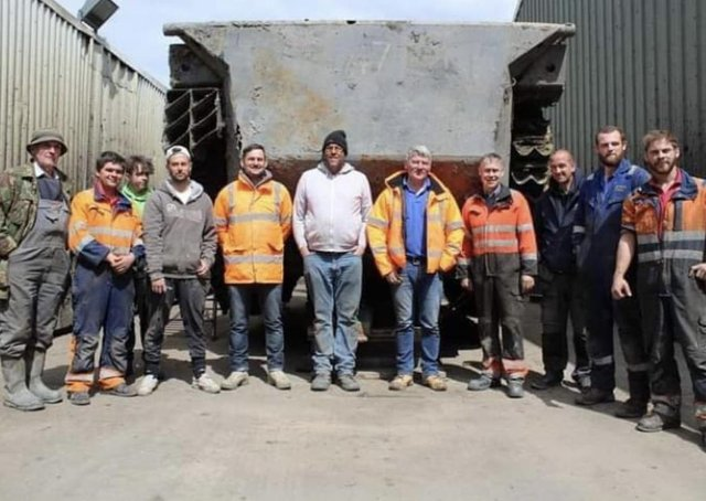 Daniel Abbott (centre) with some of the many volunteers in the project.