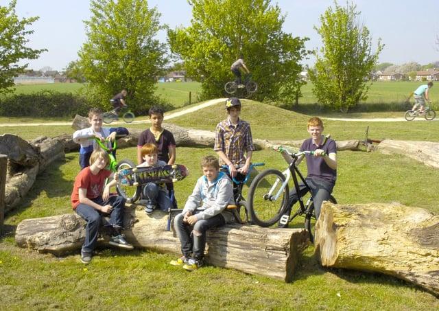 Pictured (from left) Liam Kelly, 12, Alex Raggo, 11, Antonio Medina, 12, Matthew Proud, eight, Ollie Cladd, 17, Jordan Burdall, 11, Jack Cliff, 16, in the new log circle.