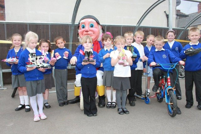 The unveiling at Skegness Infant School 10 years ago.