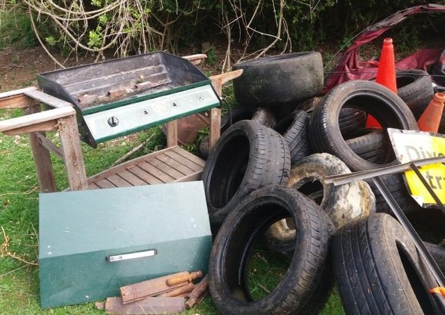 A variety of junk was dumped, polluting the Ancaster Valley SSSI, some time during the past two weeks.