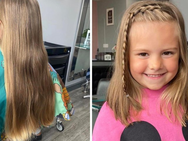 Lily looking delighted with her new cut after donating her hair to the Little Princess Trust.