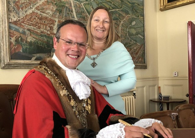 The Mayor of Louth, Councillor Darren Hobson, with Mayoress Sarah-Jayne Hobson.