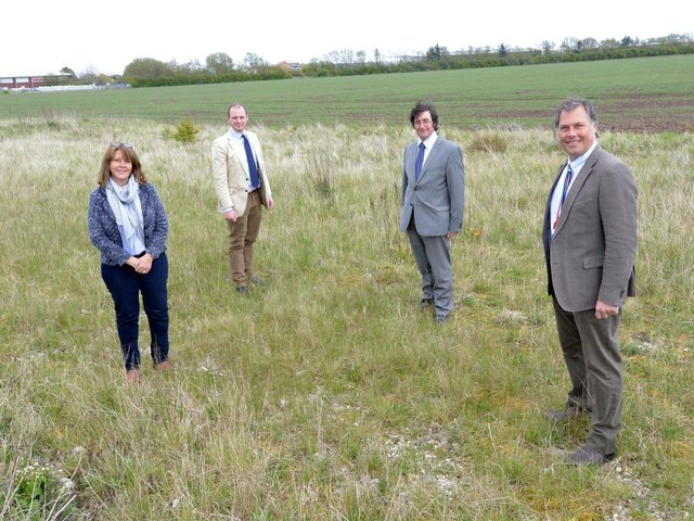 Pictured on the proposed Skegness Gateway site..are (from left) are Sue Bowser of Croftmarsh, Matt Warman MP, Coun Tom Ashton and Neil Sanderson of Croftmarsh.
