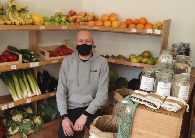 Michael pictured with the fresh fruit and vegetables, plus dried herbs. Picture: Lindi Taylor. EMN-210513-153948001