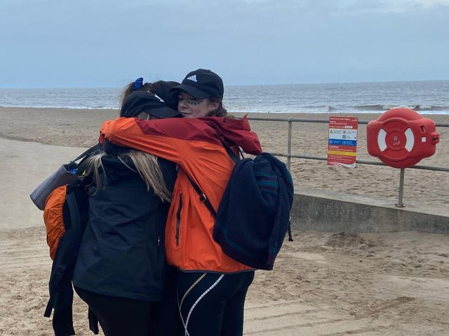 We made it - the Miles for Minds team after completing their walk from Donna Nook to Skegness.