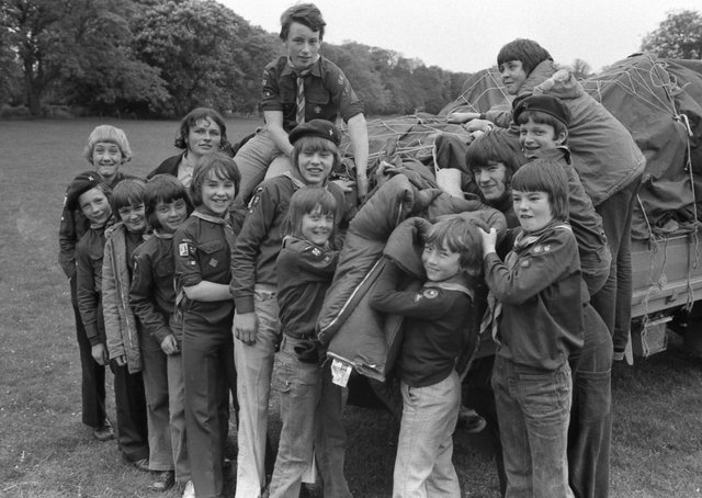 Cub Scouts of the 10th Boston (Butterwick and Freiston) pack unload their camping gear 45 years ago.