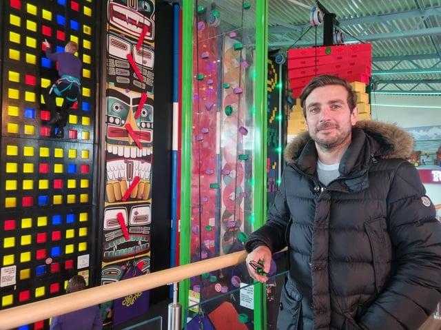 Managing director director Edward Mellors checks out the new Click 'n Climb at Skegness Pier.