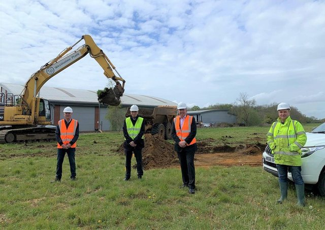 Archaeology under way at Sleaford Mooor Enterprise Park site. From left - North Kesteven District Council Economy and Place Director Andrew McDonough, Chief Executive Ian Fytche, Council Leader Coun Richard Wright and Director of Allen Archaeology Chris Clay. EMN-210521-171808001