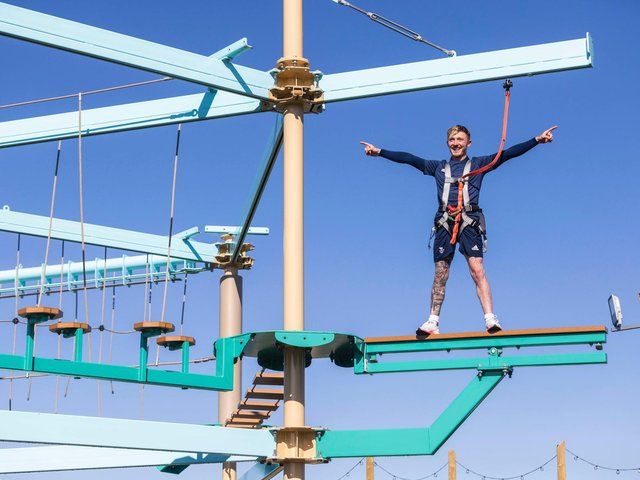 Olympic gymnast Nile Wilson at the new adventure park at Golden Sands Holiday Park in Mablethorpe.