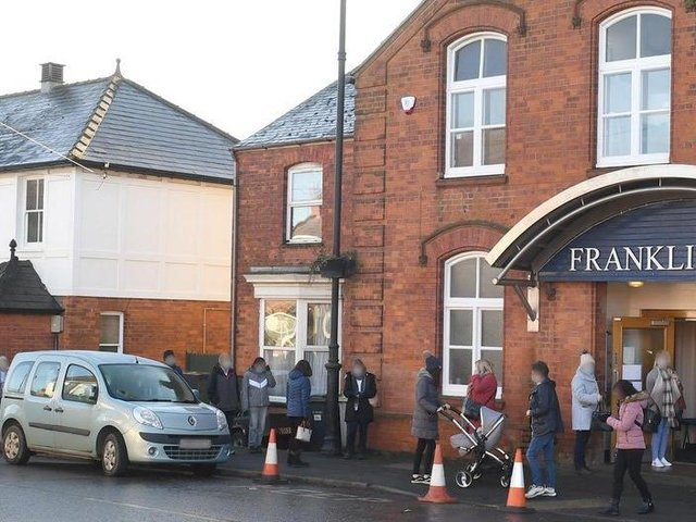 The vaccination centre at the Franklin Hall in Spilsby.