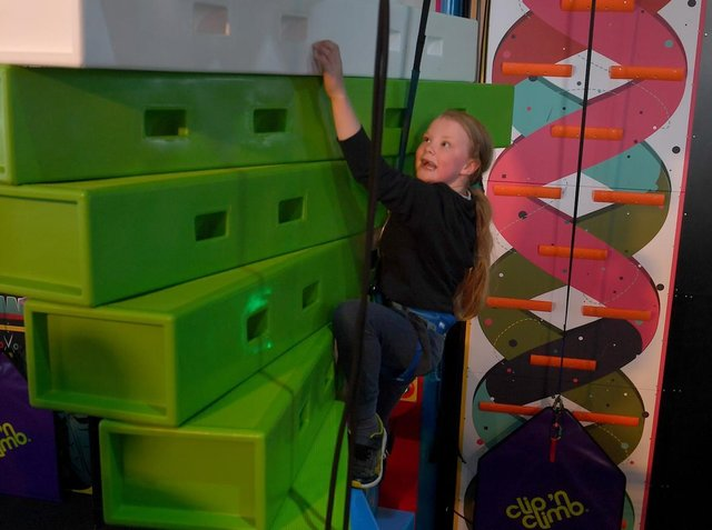 Sophia Roberts, 7, of Ingoldmells was thrilled to test out the Click 'n Climb. She used to have to travel to Lincoln for a climbing wall.