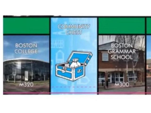 Part of the Boston Monopoly board