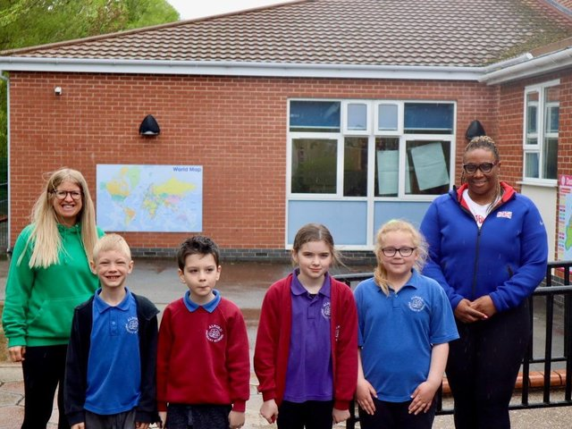 Eden Francis,  Mrs Caroline Bailey, part of the PE Team at Alford Primary School, and some of the children who took part in this exciting event.