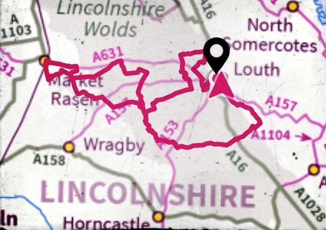 The 100 kilometre route through the Lincolnshire Wolds.