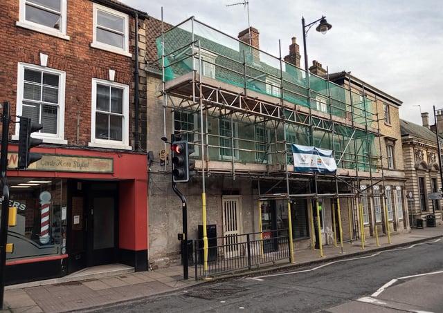 Historic shop fronts on Northgate, Sleaford, undergoing restoration last year. EMN-210525-132341001