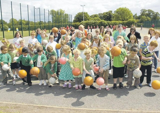 The scene at Metheringham Primary School 10 years ago during a bounce-athon fundraiser, held in support of Marie Curie Cancer Care.