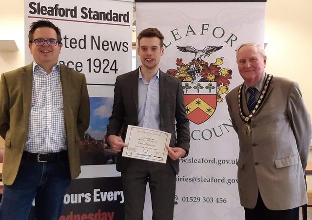 James Causebrook of Grunwald UK  presents the Overcoming Adversity Award to Joe Colehouse, with Mayor Anthony Brand. EMN-210528-160437001
